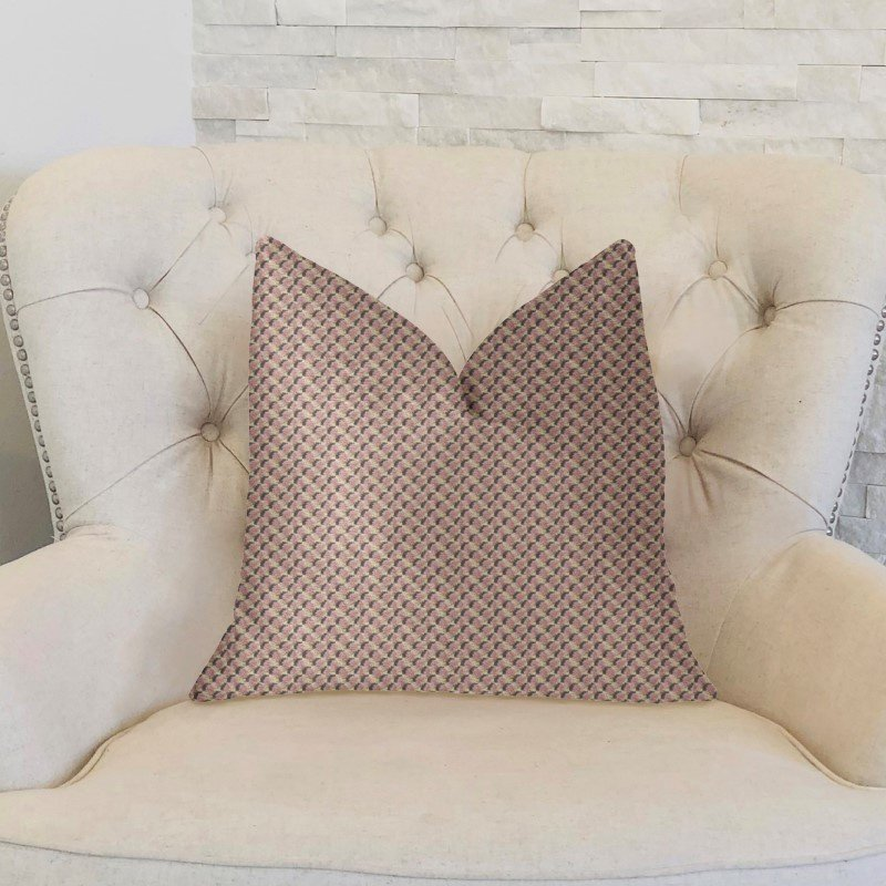 """Plutus Brands Ellie Pearl Pink and Ivory Luxury Throw Pillow 16"""" x 16"""" (PBKR1919-1616-DP)"""