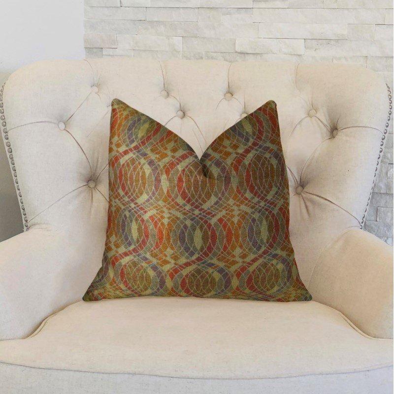 "Plutus Brands Ellipse Purple Olive and Red Handmade Luxury Pillow 26"" x 26"" (PBRAZ069-2626-DP)"