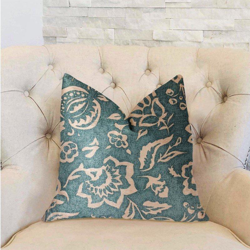 "Plutus Brands Elsi Pom Blue and Beige Luxury Throw Pillow 16"" x 16"" (PBRA2230-1616-DP)"