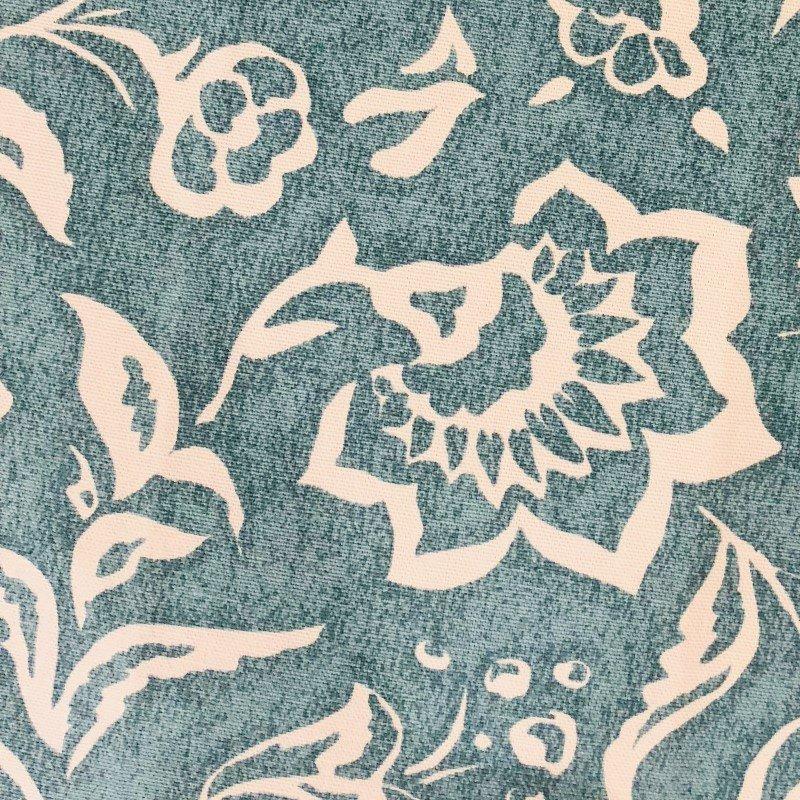 "Plutus Brands Elsi Pom Blue and Beige Luxury Throw Pillow 18"" x 18"" (PBRA2230-1818-DP)"