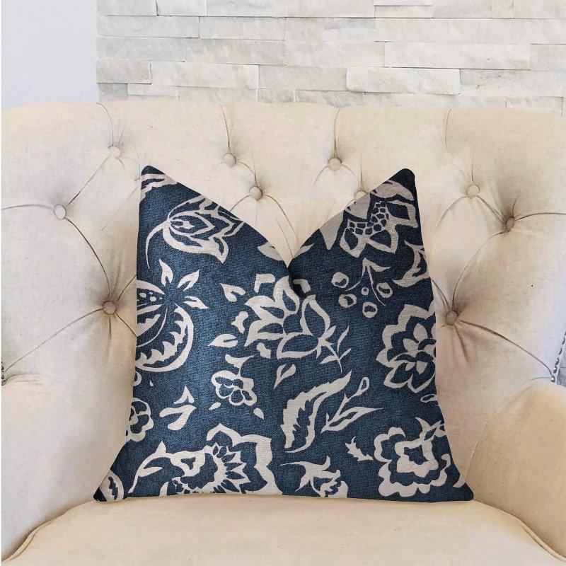 "Plutus Brands Elsi Pom Blue and White Luxury Throw Pillow 24"" x 24"" (PBRA2234-2424-DP)"