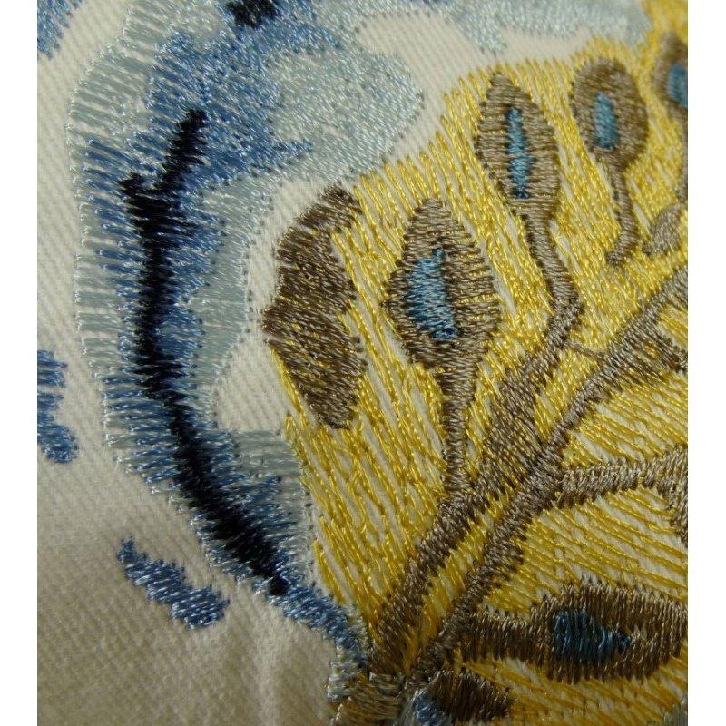 "Plutus Brands Elyssa Navy Brown and Cream Handmade Luxury Pillow 12"" x 20"" (PBRAZ181-1220-DP)"