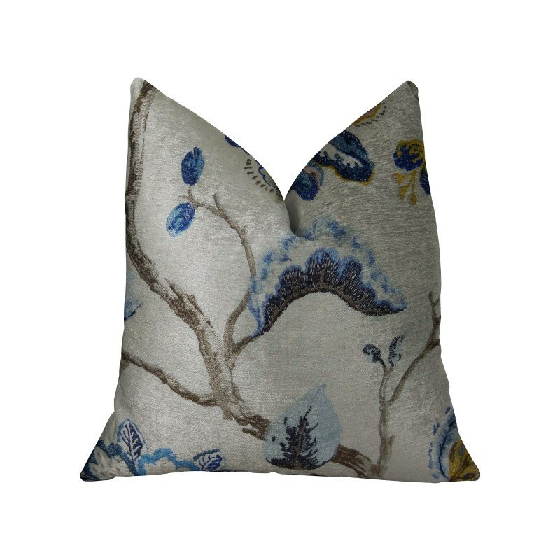 "Plutus Brands Elyssa Navy Brown and Cream Handmade Luxury Pillow 16"" x 16"" (PBRAZ181-1616-DP)"