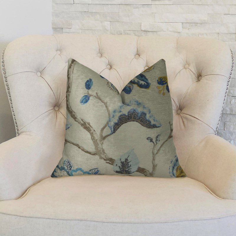 "Plutus Brands Elyssa Navy Brown and Cream Handmade Luxury Pillow 20"" x 26"" Standard (PBRAZ181-2026-DP)"