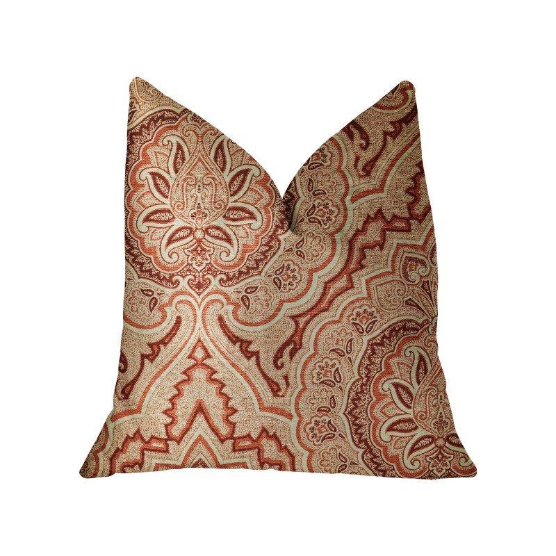 "Plutus Brands Enchanted Prairie Red and Beige Luxury Throw Pillow 12"" x 20"" (PBRA2281-1220-DP)"