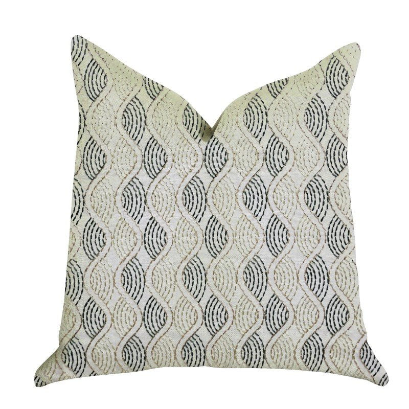 "Plutus Brands Enigma Twist Luxury Throw Pillow in Blue Beige Colors Pillows 20"" x 20"" (PBRA1351-2020-DP)"
