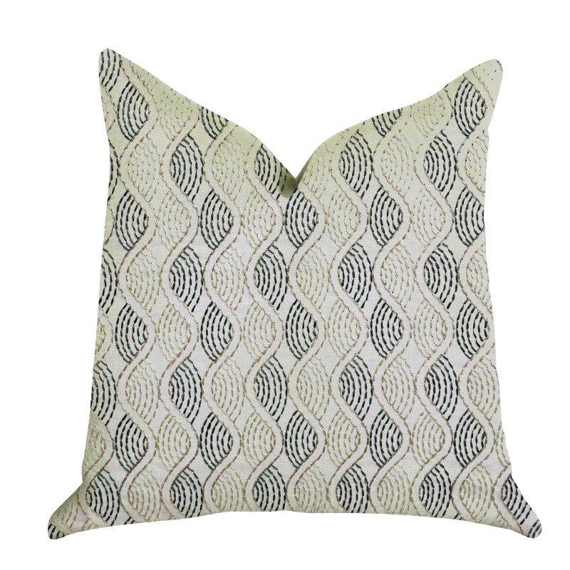 "Plutus Brands Enigma Twist Luxury Throw Pillow in Blue Beige Colors Pillows 20"" x 26"" Standard (PBRA1351-2026-DP)"