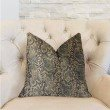 "Plutus Brands Exotic Phantom Blue and Gold Luxury Throw Pillow 22"" x 22"" (PBRA2323-2222-DP)"