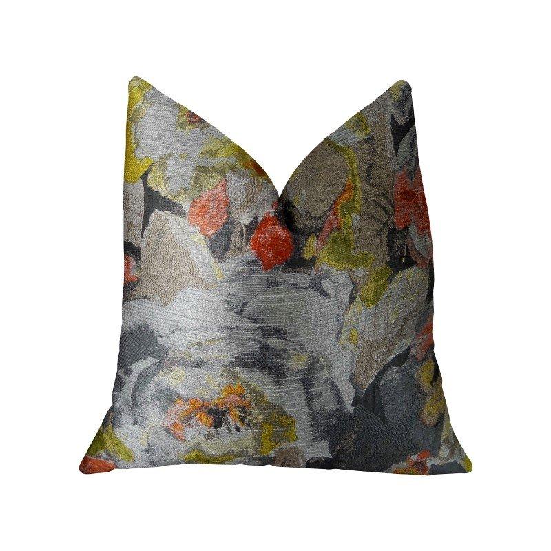 "Plutus Brands Fairy Garden Gray Yellow and Coral Handmade Luxury Pillow 12"" x 20"" (PBRAZ382-1220-DP)"