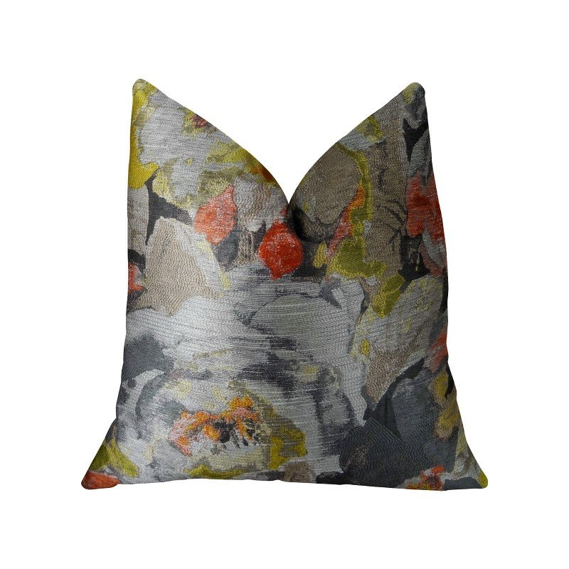 "Plutus Brands Fairy Garden Gray Yellow and Coral Handmade Luxury Pillow 16"" x 16"" (PBRAZ382-1616-DP)"