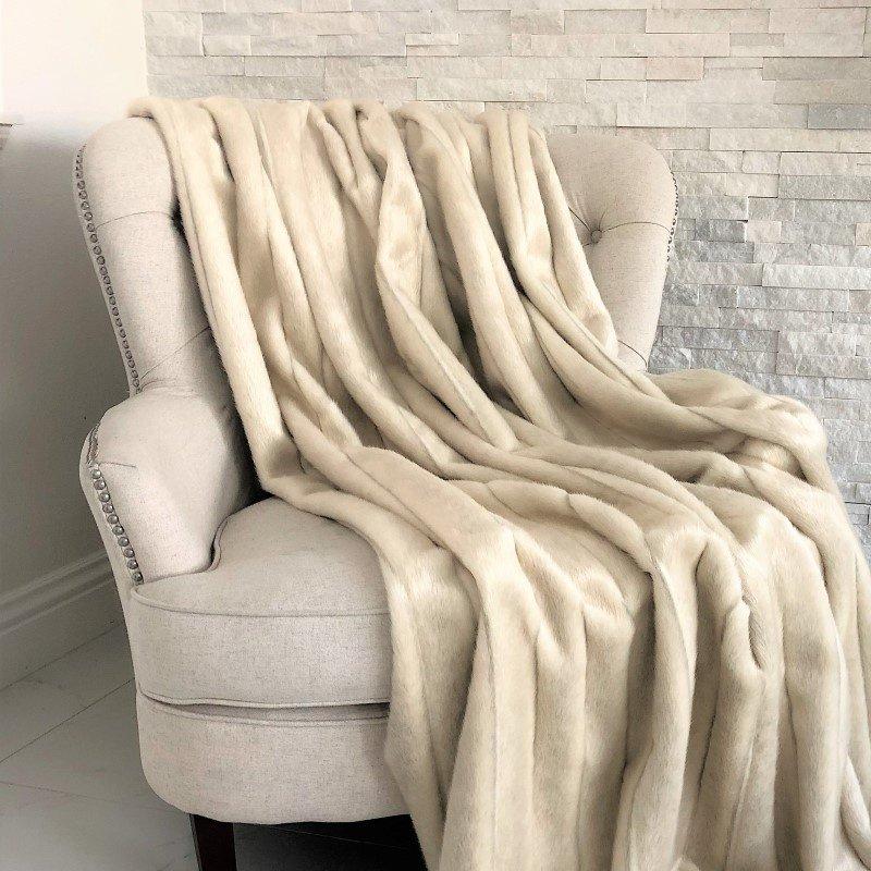 "Plutus Brands Fancy Mink Faux Fur Ivory Luxury Throw 60""W x 84""L (PBSF1420-6084-TC)"