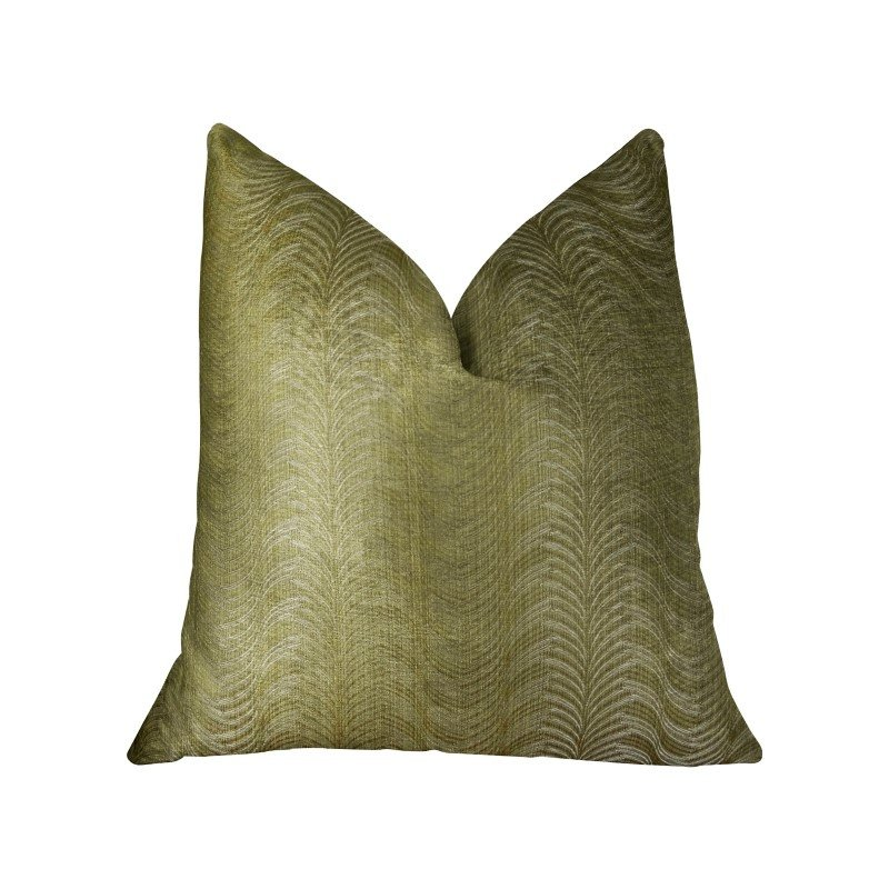 """Plutus Brands Feathered Strokes Taupe Handmade Luxury Pillow Double Sided 22"""" x 22"""" (PBRAZ395-2222-DP)"""
