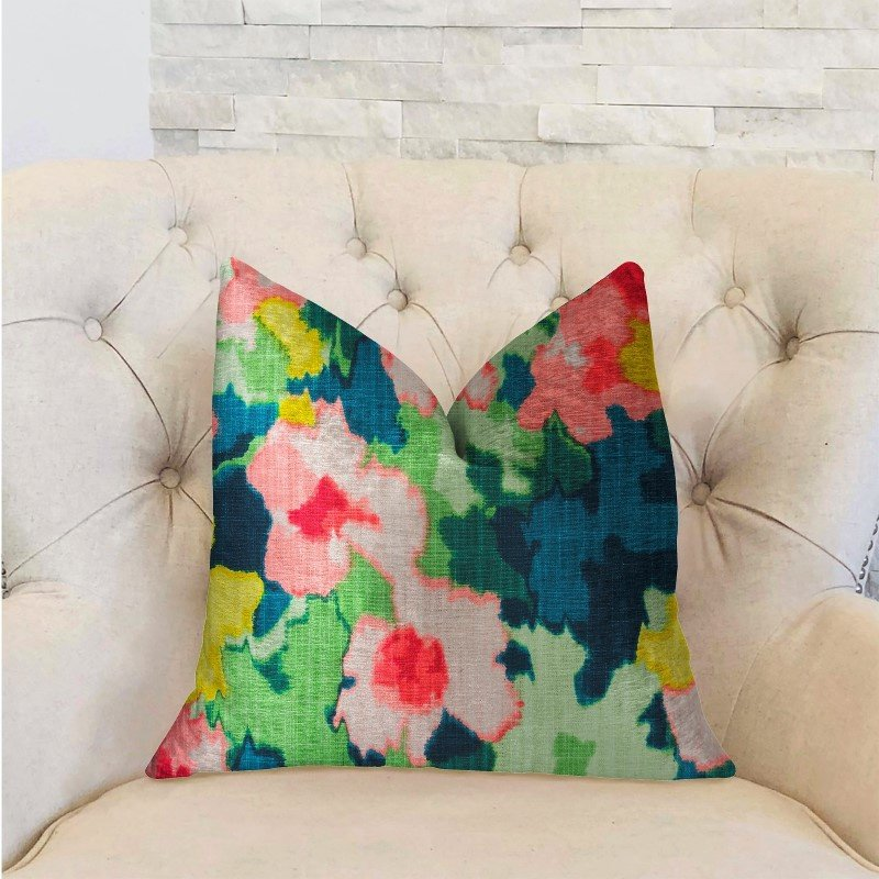 "Plutus Brands Floral Goddess Multicolor Luxury Throw Pillow 16"" x 16"" (PBRA2228-1616-DP)"