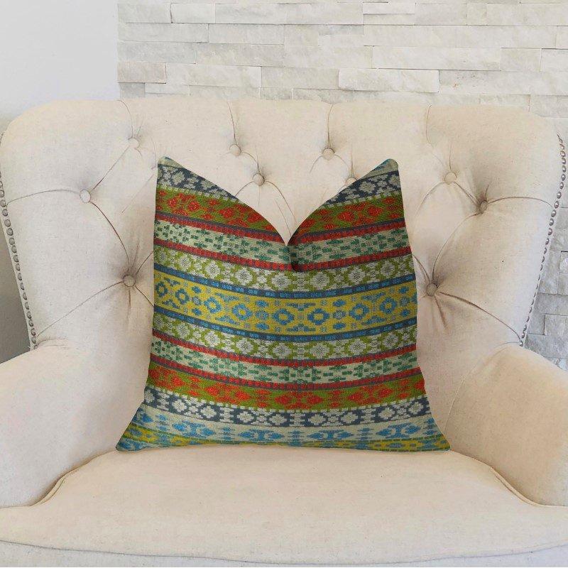 "Plutus Brands Flower Child White Blue and Red Handmade Luxury Pillow 18"" x 18"" (PBRAZ062-1818-DP)"