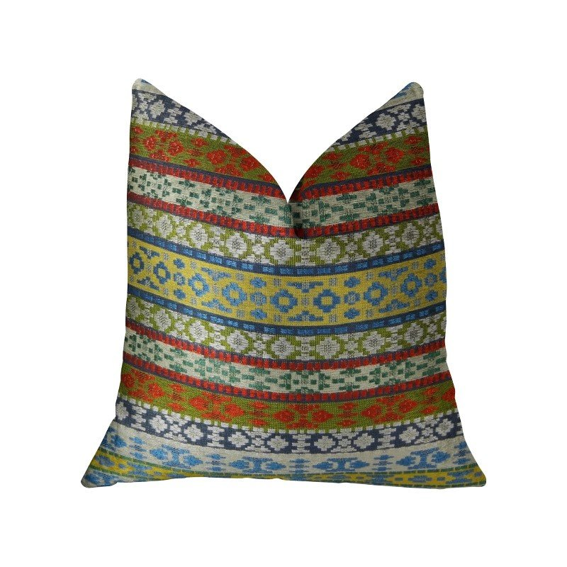 "Plutus Brands Flower Child White Blue and Red Handmade Luxury Pillow 26"" x 26"" (PBRAZ062-2626-DP)"