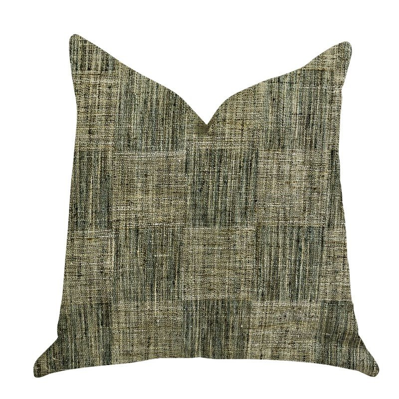 "Plutus Brands Foursquare Avenue in Green Tones Luxury Throw Pillow 18"" x 18"" (PBRA1365-1818-DP)"