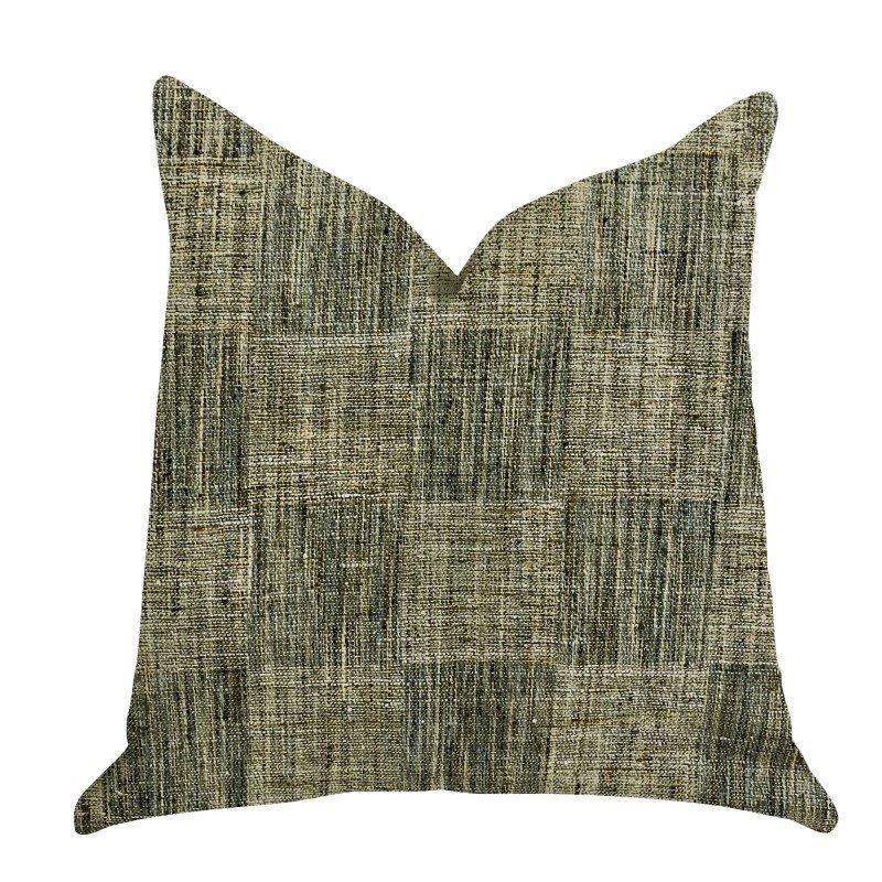 "Plutus Brands Foursquare Avenue in Green Tones Luxury Throw Pillow 20"" x 30"" Queen (PBRA1365-2030-DP)"