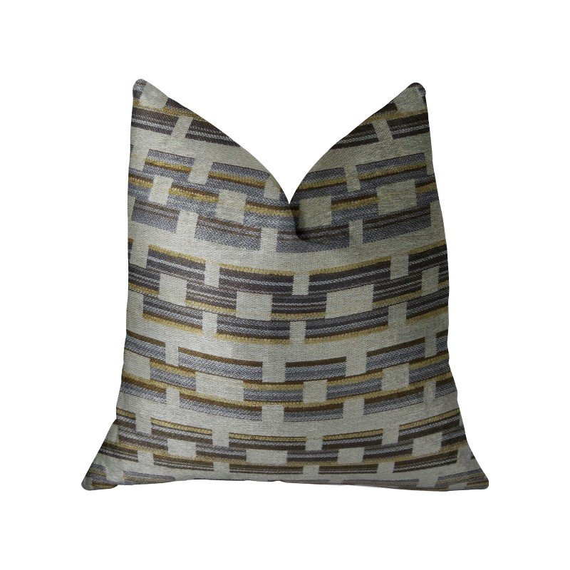 "Plutus Brands Foursquare White and Gray Handmade Luxury Pillow 12"" x 20"" (PBRAZ187-1220-DP)"