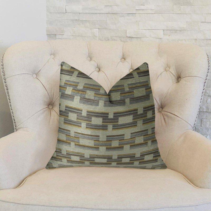 "Plutus Brands Foursquare White and Gray Handmade Luxury Pillow 18"" x 18"" (PBRAZ187-1818-DP)"