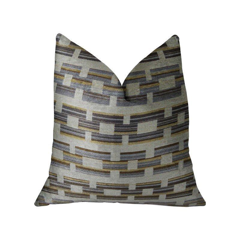 "Plutus Brands Foursquare White and Gray Handmade Luxury Pillow 20"" x 36"" King (PBRAZ187-2036-DP)"