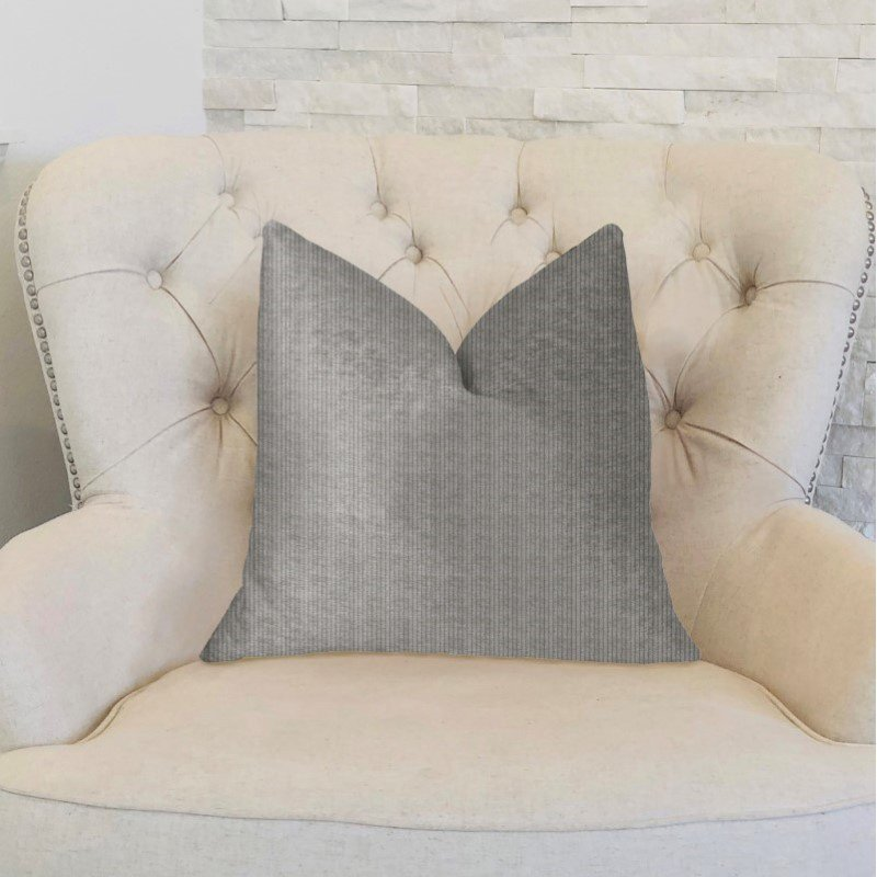 "Plutus Brands Fremont Gray and Silver Luxury Throw Pillow 16"" x 16"" (PBKR1947-1616-DP)"