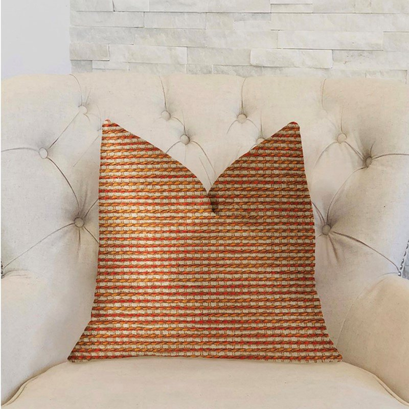 "Plutus Brands French Brick Orange and Beige Luxury Throw Pillow 18"" x 18"" (PBRA2301-1818-DP)"