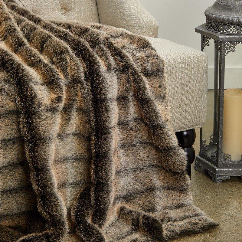"Plutus Brands Frost Mink Dark Brown Faux Fur Luxury Throw 48""W x 60""L (PBEZ1780-4860-TC)"