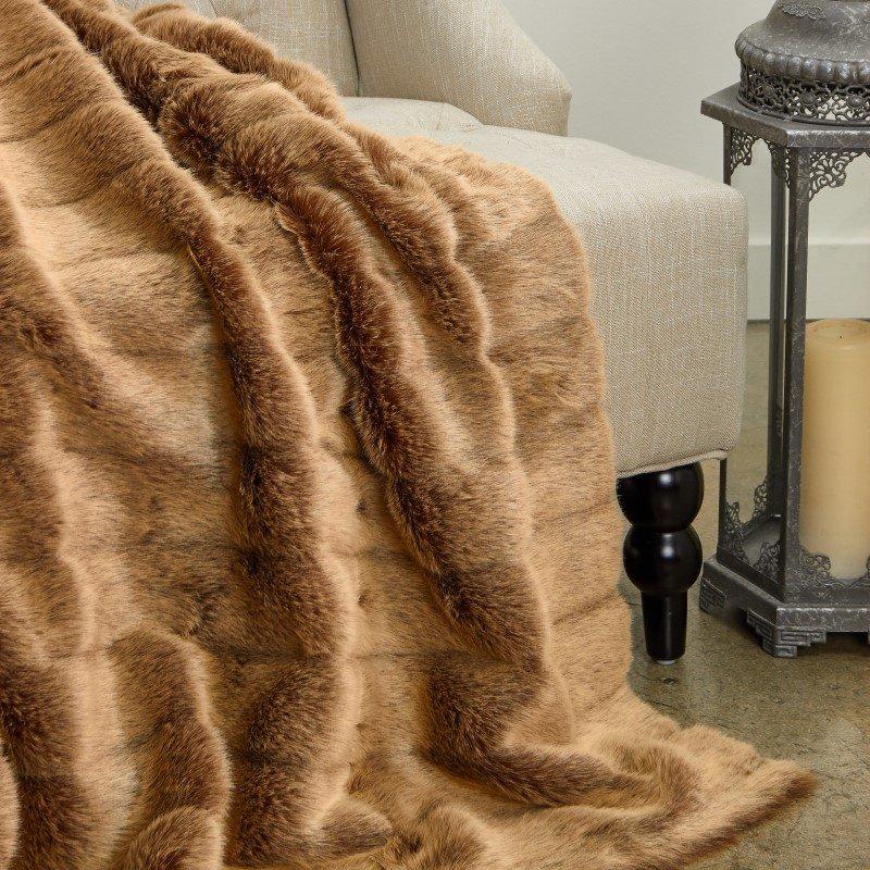 "Plutus Brands Frost Mink Light Brown Faux Fur Luxury Throw 60""W x 72""L (PBEZ1781-6072-TC)"