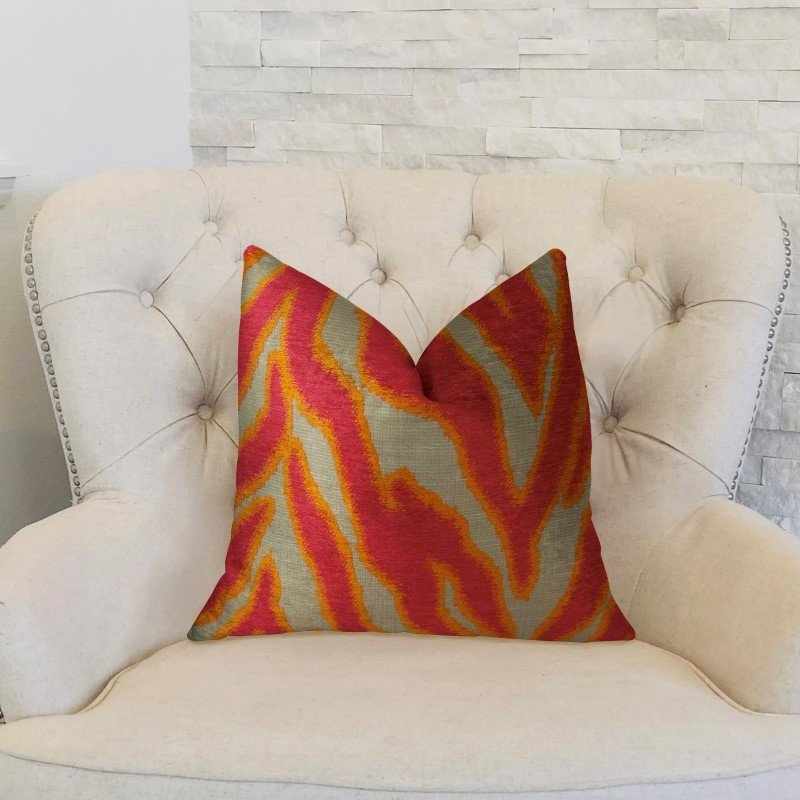 "Plutus Brands Fuchsia Fire Fuchsia Orange and Taupe Handmade Luxury Pillow 20"" x 26"" Standard (PBRAZ061-2026-DP)"