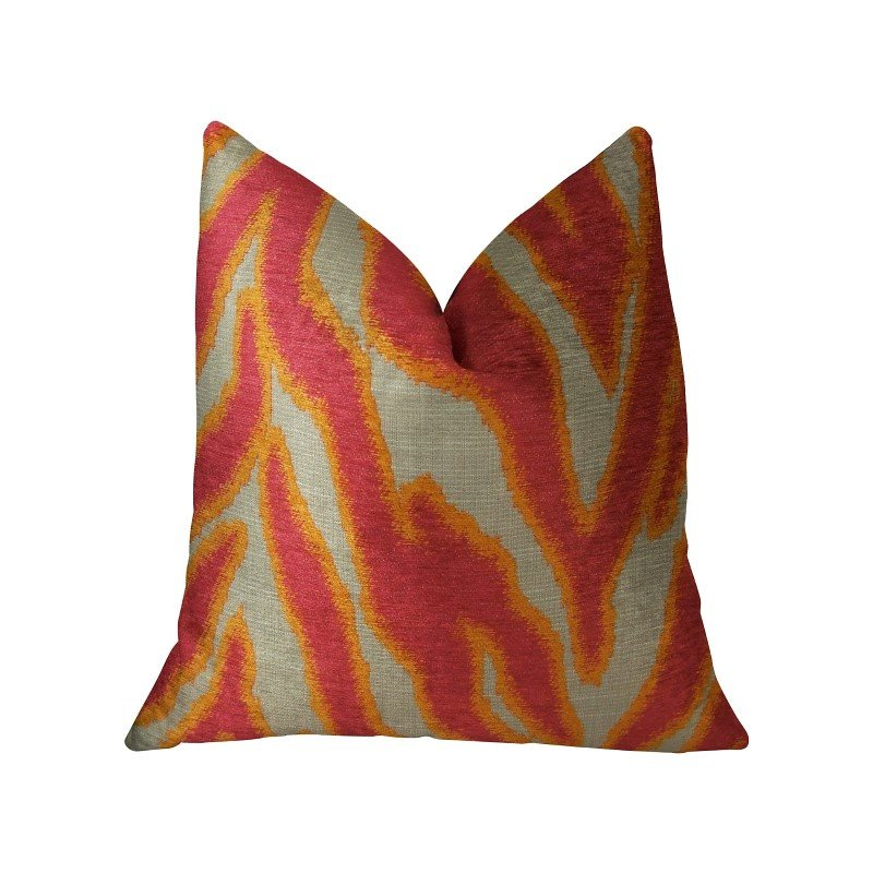 "Plutus Brands Fuchsia Fire Fuchsia Orange and Taupe Handmade Luxury Pillow 20"" x 30"" Queen (PBRAZ061-2030-DP)"