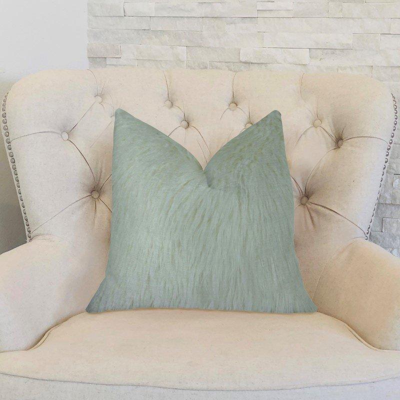 "Plutus Brands Fuzzy Mongolian Fur White Handmade Luxury Pillow 20"" x 36"" King (PBRAZ471-2036-DP)"