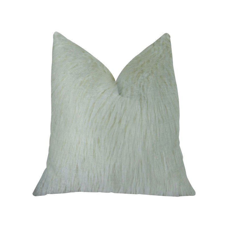 "Plutus Brands Fuzzy Mongolian Fur White Handmade Luxury Pillow Double Sided 12"" x 20"" (PBRAZ471-1220-DP)"
