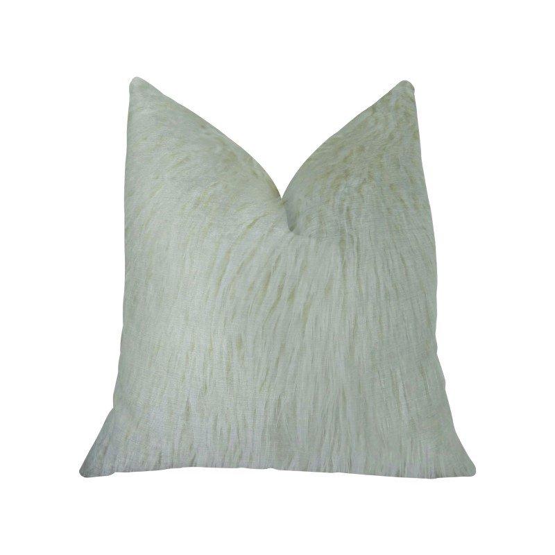 "Plutus Brands Fuzzy Mongolian Fur White Handmade Luxury Pillow Double Sided 18"" x 18"" (PBRAZ471-1818-DP)"