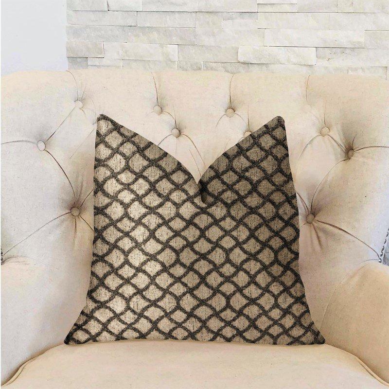 """Plutus Brands Galactic Ringlet Brown and Beige Luxury Throw Pillow 20"""" x 30"""" Queen (PBRA2215-2030-DP)"""