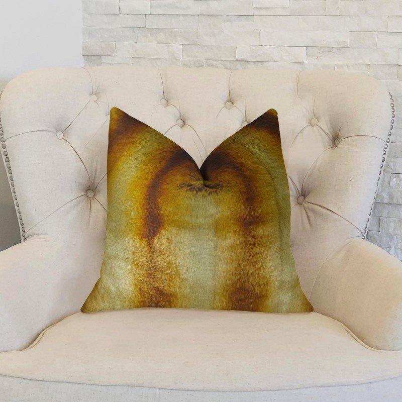"Plutus Brands Gleaming Chinchilla Gold Beige Brown Handmade Luxury Pillow 20"" x 26"" Standard (PBRAZ468-2026-DP)"