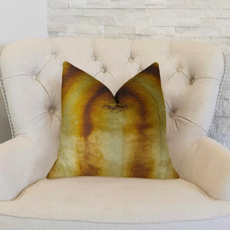 """Plutus Brands Gleaming Chinchilla Gold Beige Brown Handmade Luxury Pillow Double Sided 22"""" x 22"""" (PBRAZ468-2222-DP)"""