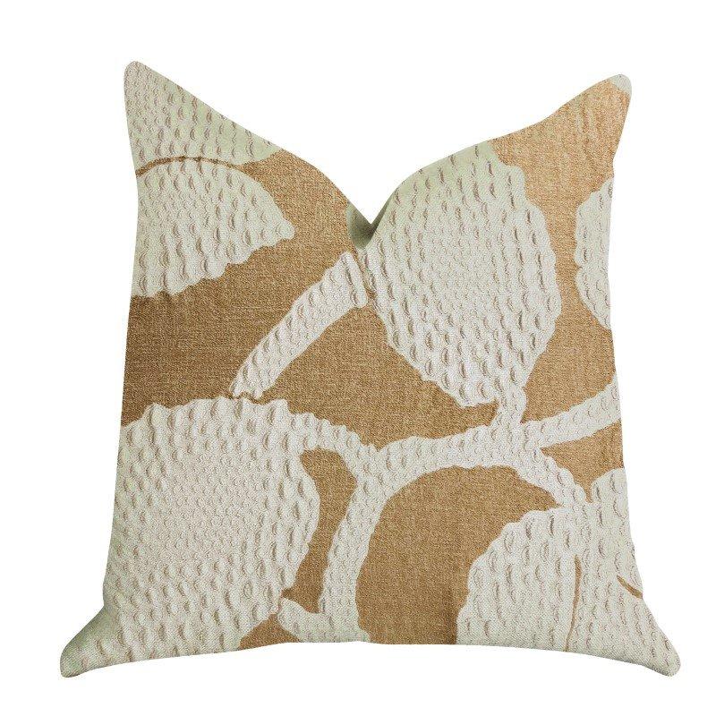 """Plutus Brands Golden Arabella Vine in Bronze Tones Luxury Throw Pillow 22"""" x 22"""" (PBRA1366-2222-DP)"""
