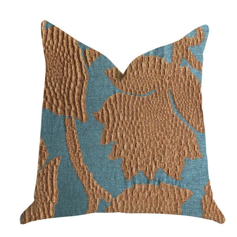 """Plutus Brands Golden Arabella Vine in Green and Bronze Tones Luxury Throw Pillow 26"""" x 26"""" (PBRA1364-2626-DP)"""