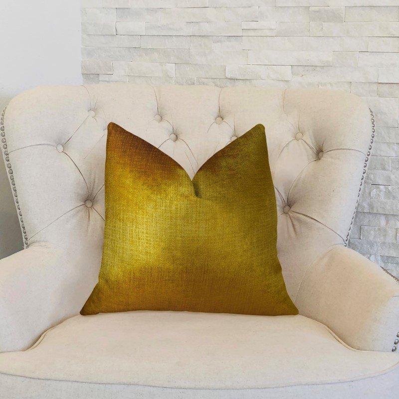 """Plutus Brands Golden Bijou Gold Handmade Luxury Pillow 12"""" x 20"""" (PBRAZ249-1220-DP)"""