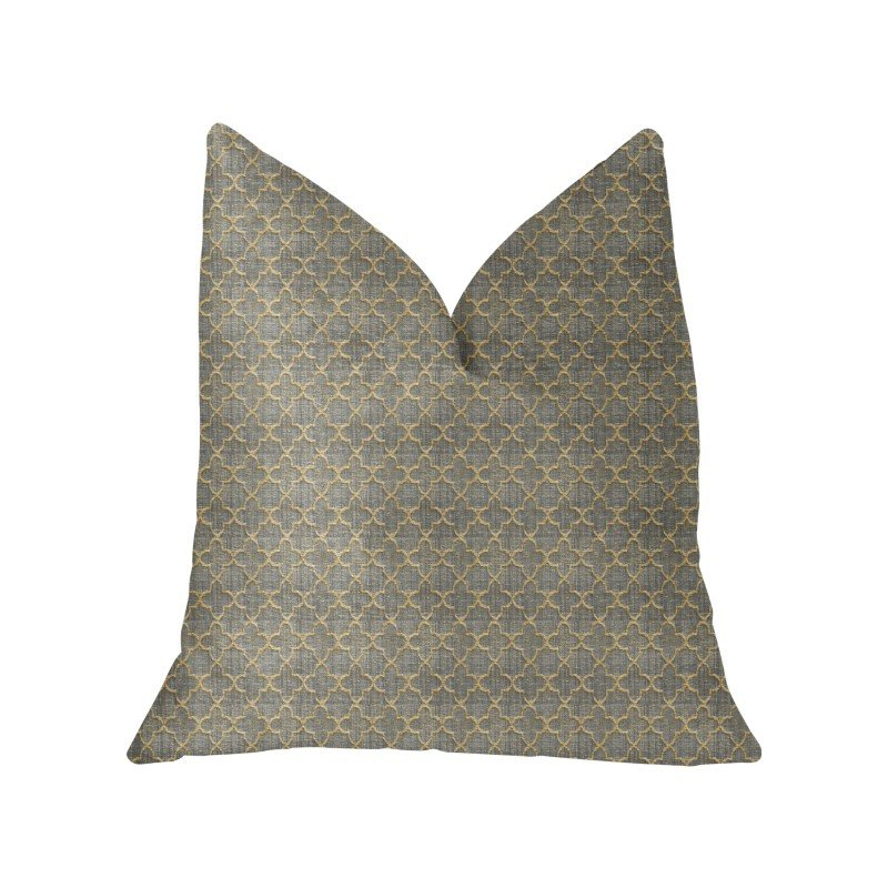 "Plutus Brands Golden Clove Blue and Beige Luxury Throw Pillow 12"" x 20"" (PBKR2001-1220-DP)"