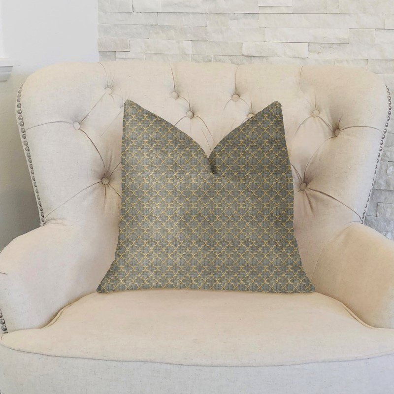 "Plutus Brands Golden Clove Blue and Beige Luxury Throw Pillow 18"" x 18"" (PBKR2001-1818-DP)"