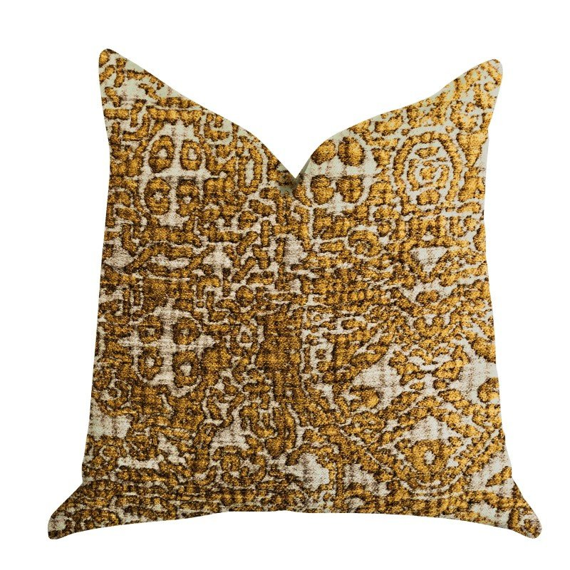 "Plutus Brands Golden Cosmo Textured Luxury Throw Pillow 24"" x 24"" (PBRA1329-2424-DP)"