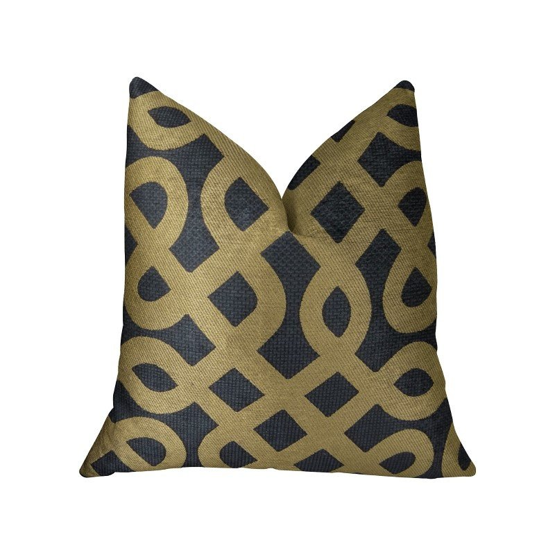 "Plutus Brands Golden Maze Black and Gold Handmade Luxury Pillow 12"" x 20"" (PBRAZ264-1220-DP)"