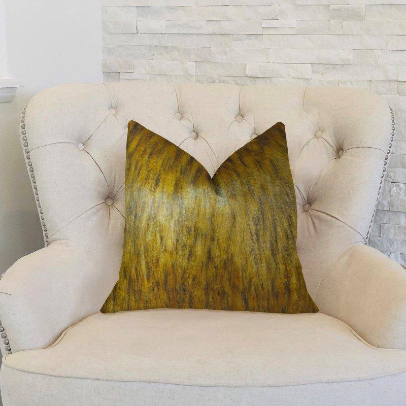 """Plutus Brands Golden Spirit Wolf Light and Dark Brown Handmade Luxury Pillow 20"""" x 26"""" Standard (PBRAZ456-2026-DP)"""