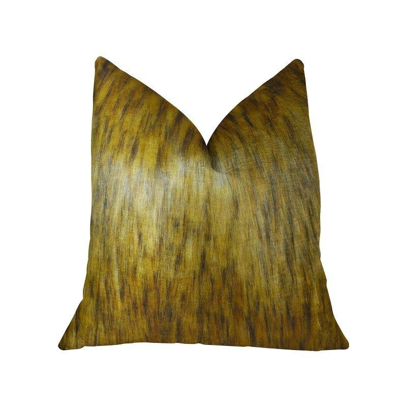 """Plutus Brands Golden Spirit Wolf Light and Dark Brown Handmade Luxury Pillow 20"""" x 30"""" Queen (PBRAZ456-2030-DP)"""