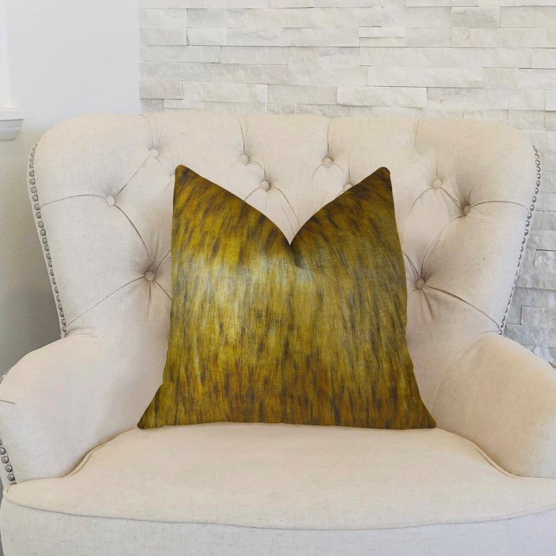 "Plutus Brands Golden Spirit Wolf Light and Dark Brown Handmade Luxury Pillow Double Sided 24"" x 24"" (PBRAZ456-2424-DP)"