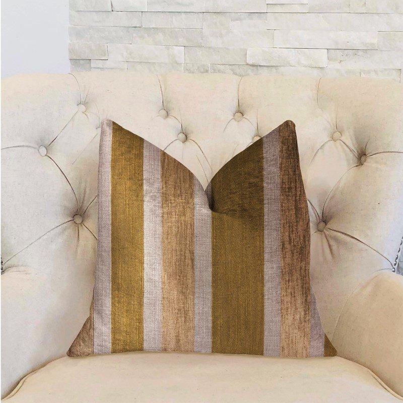 "Plutus Brands Golden Tan Lines Gold Luxury Throw Pillow 18"" x 18"" (PBRA2313-1818-DP)"