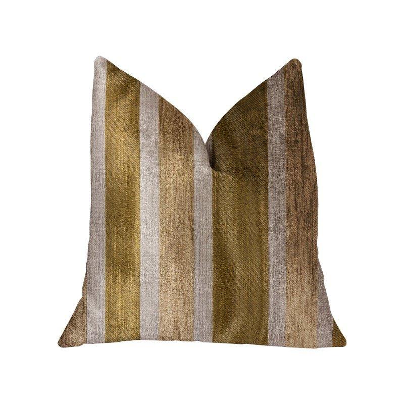 "Plutus Brands Golden Tan Lines Gold Luxury Throw Pillow 24"" x 24"" (PBRA2313-2424-DP)"