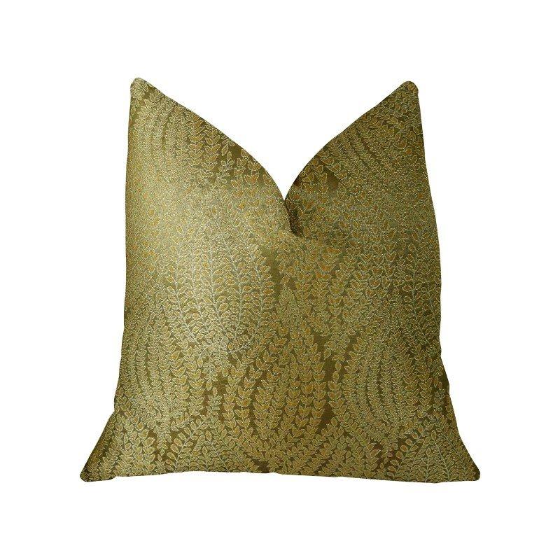 "Plutus Brands Golden Vineyard Gold Handmade Luxury Pillow 20"" x 30"" Queen (PBRAZ015-2030-DP)"