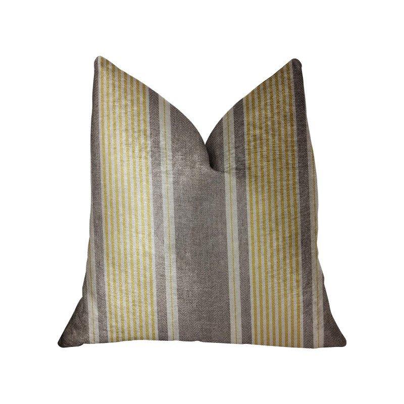 "Plutus Brands Graceful Bridge Yellow and Gray Luxury Throw Pillow 20"" x 20"" (PBRA2316-2020-DP)"